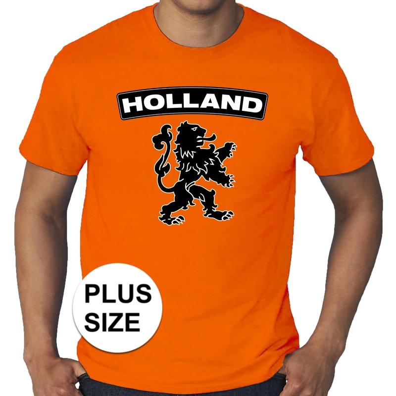8a8d8c316e2 Party Grote maten Holland shirt met zwarte leeuw shirt oranje heren ...